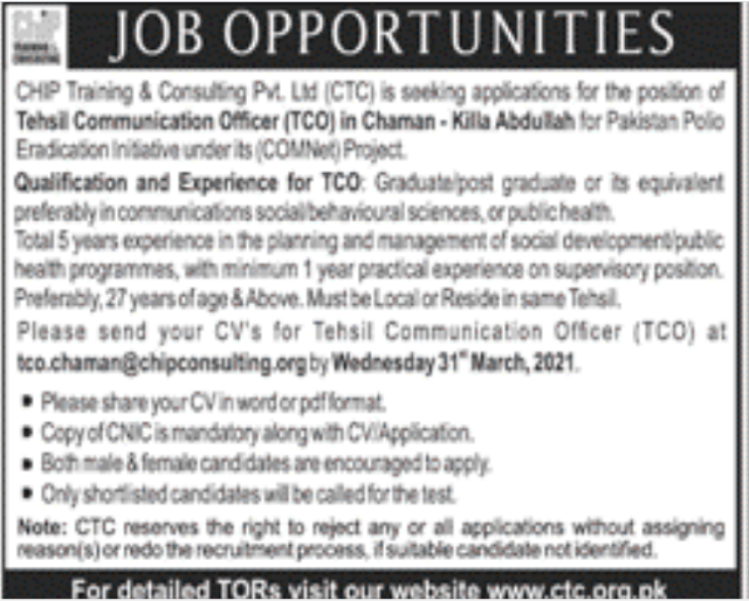 CHIP Training & Consulting Private Limited CTC Jobs 2021