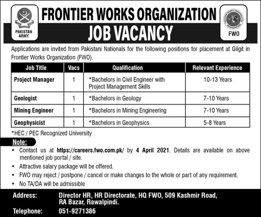 FWO Jobs 2021 Frontier Works Organization Rawalpindi