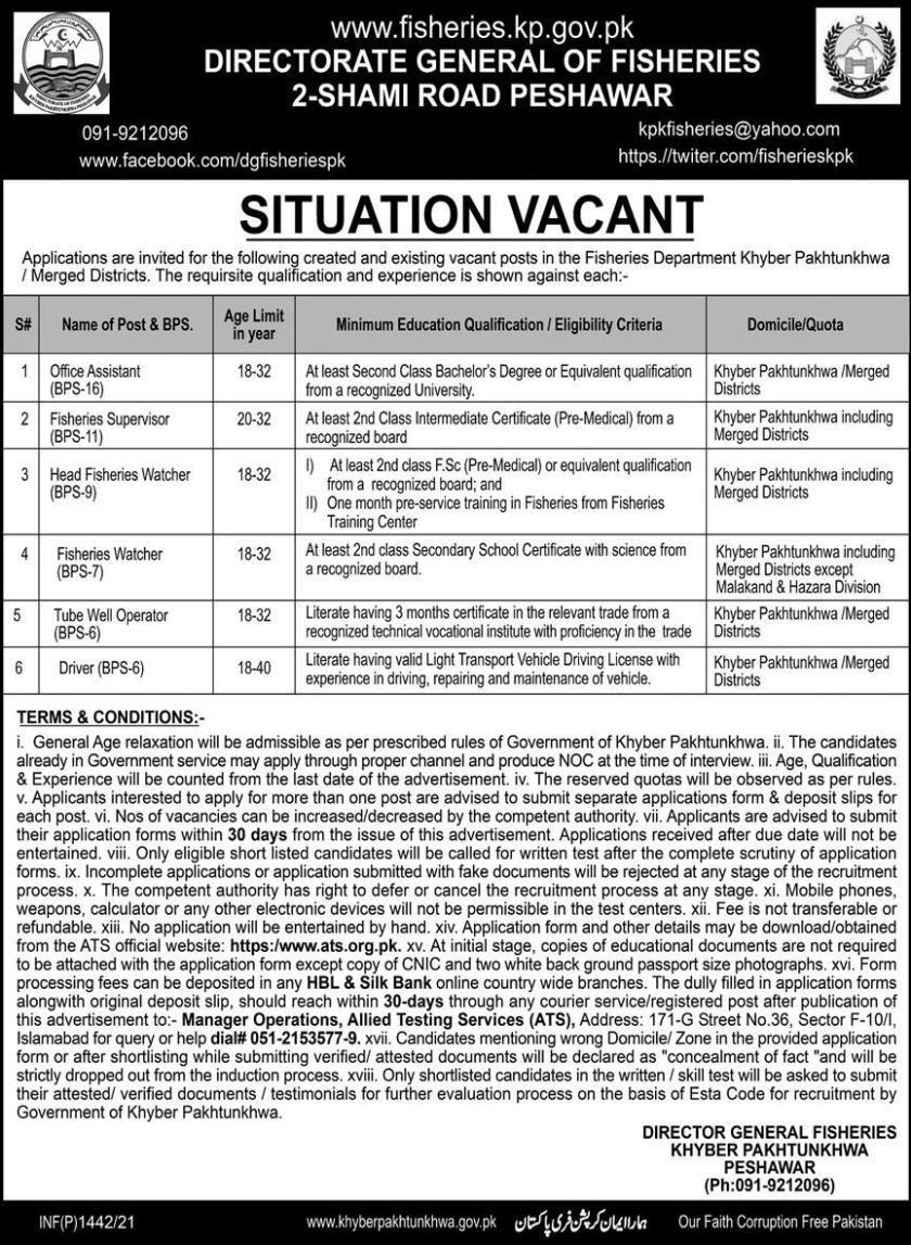 Directorate General Fisheries Khyber Pakhtunkhwa Jobs 2021