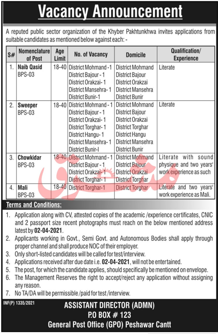 PO Box 123 Peshawar Jobs 2021 Public Sector Organization