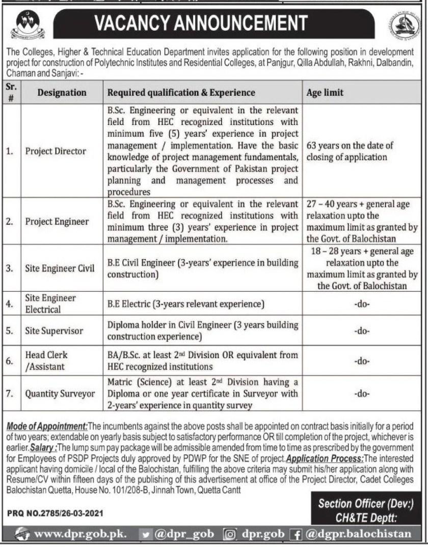 Colleges Higher & Technical Education Department Balochistan Jobs 2021