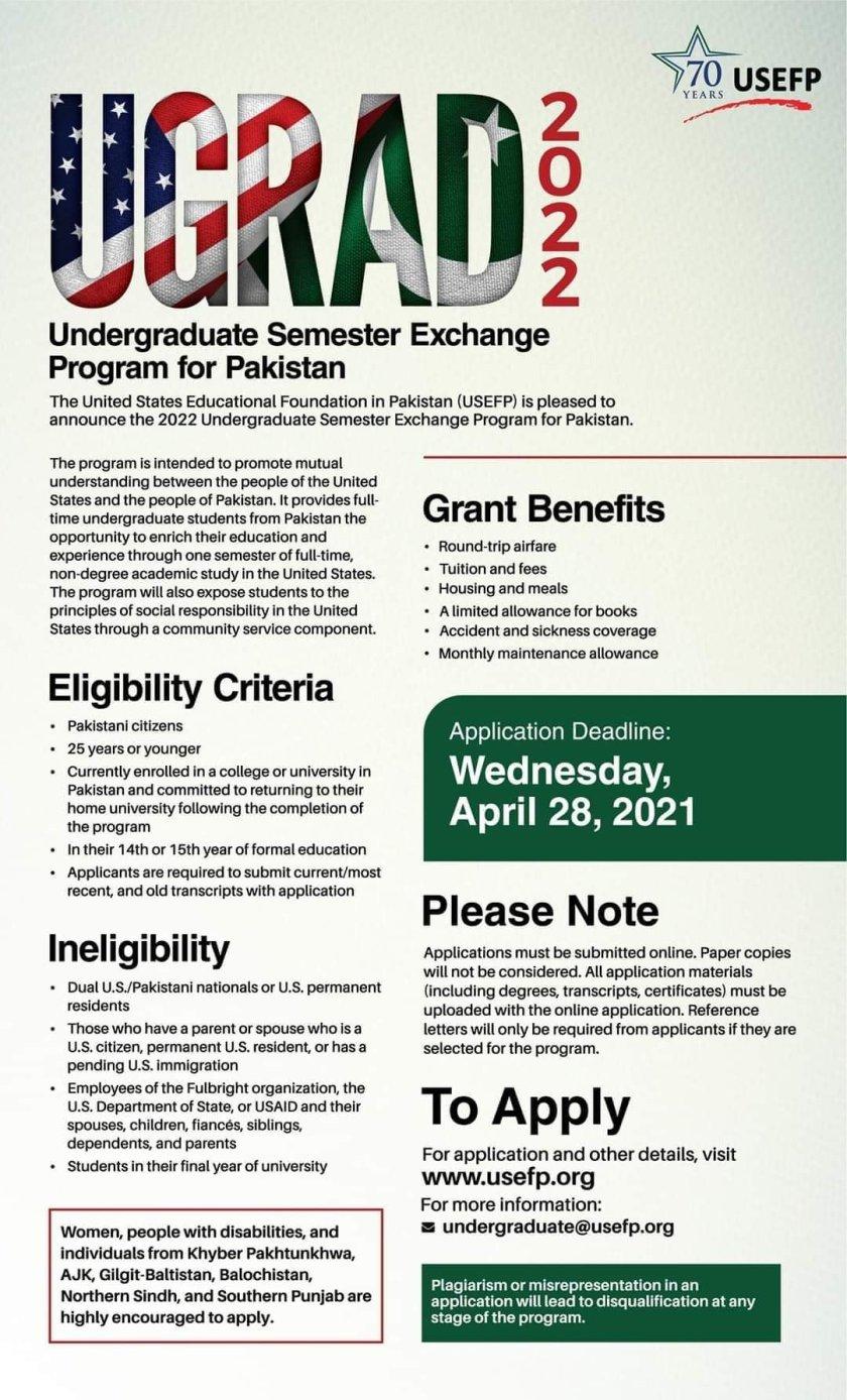 UGRAD 2022 Undergraduate Semester Exchange Program for Pakistan
