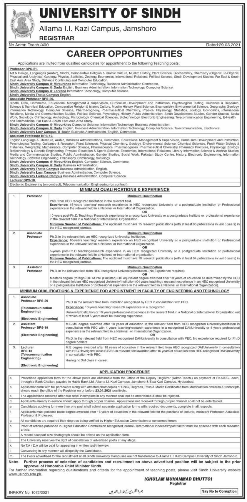 University of Sindh Jamshoro Sindh University Jobs 2021