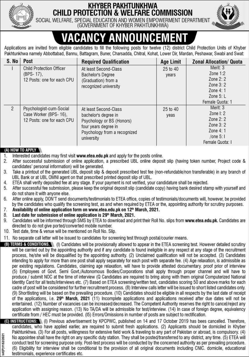Child Protection & Welfare Commission Peshawar Jobs 2021