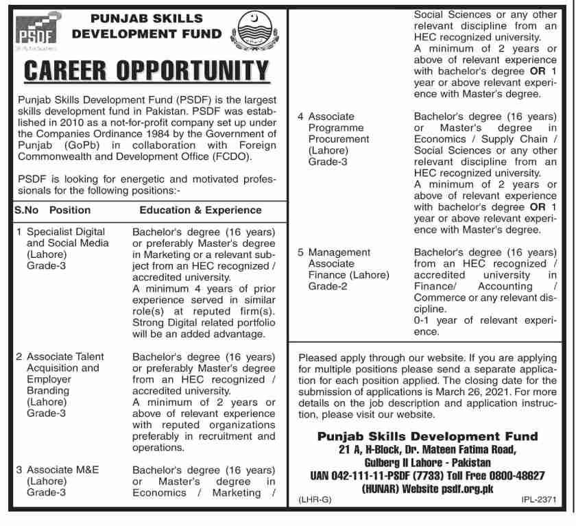 Punjab Skill Development Fund PSDF Jobs 2021