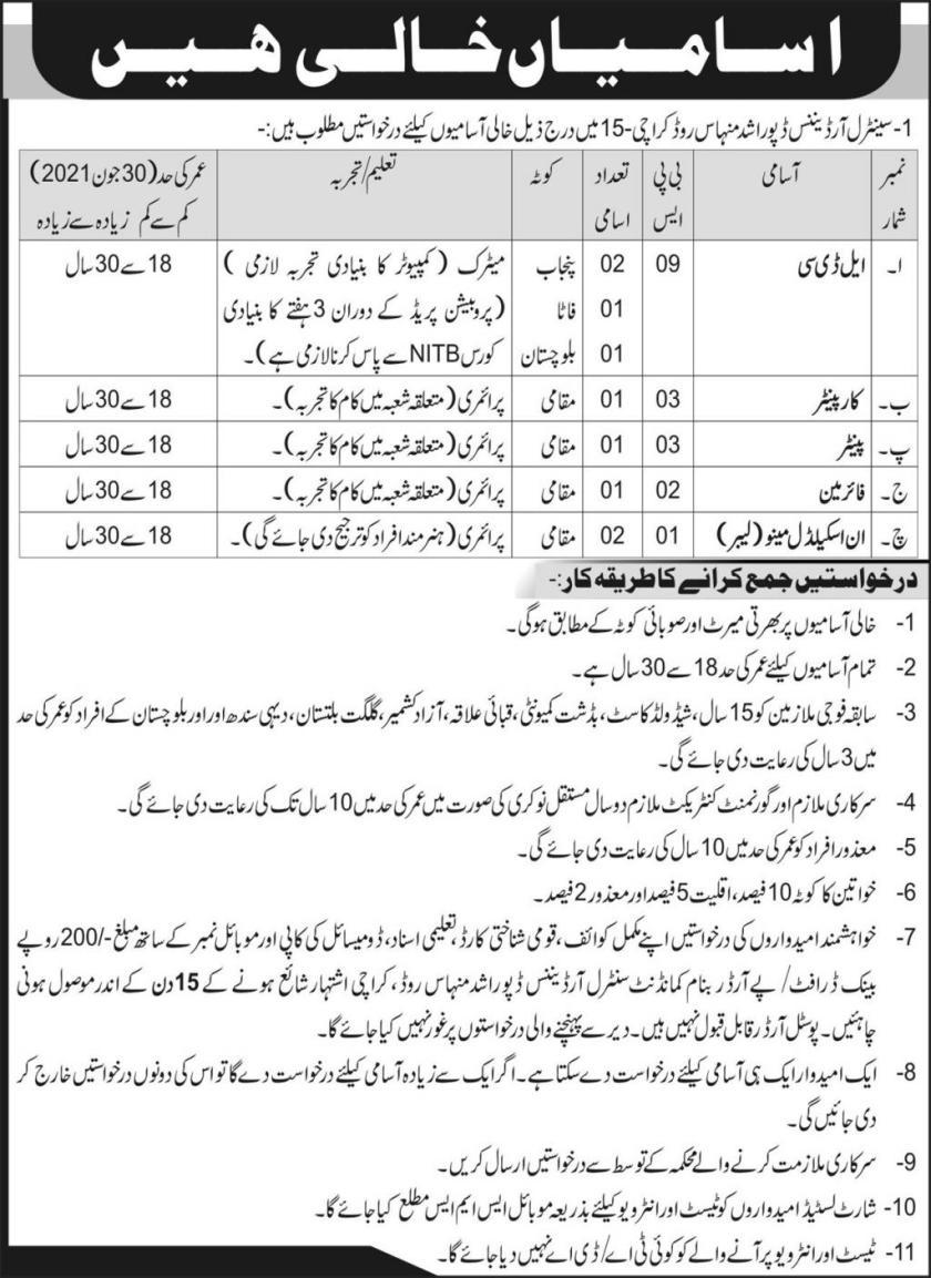 Central Ordnance Depot Karachi Pak Army Jobs 2021