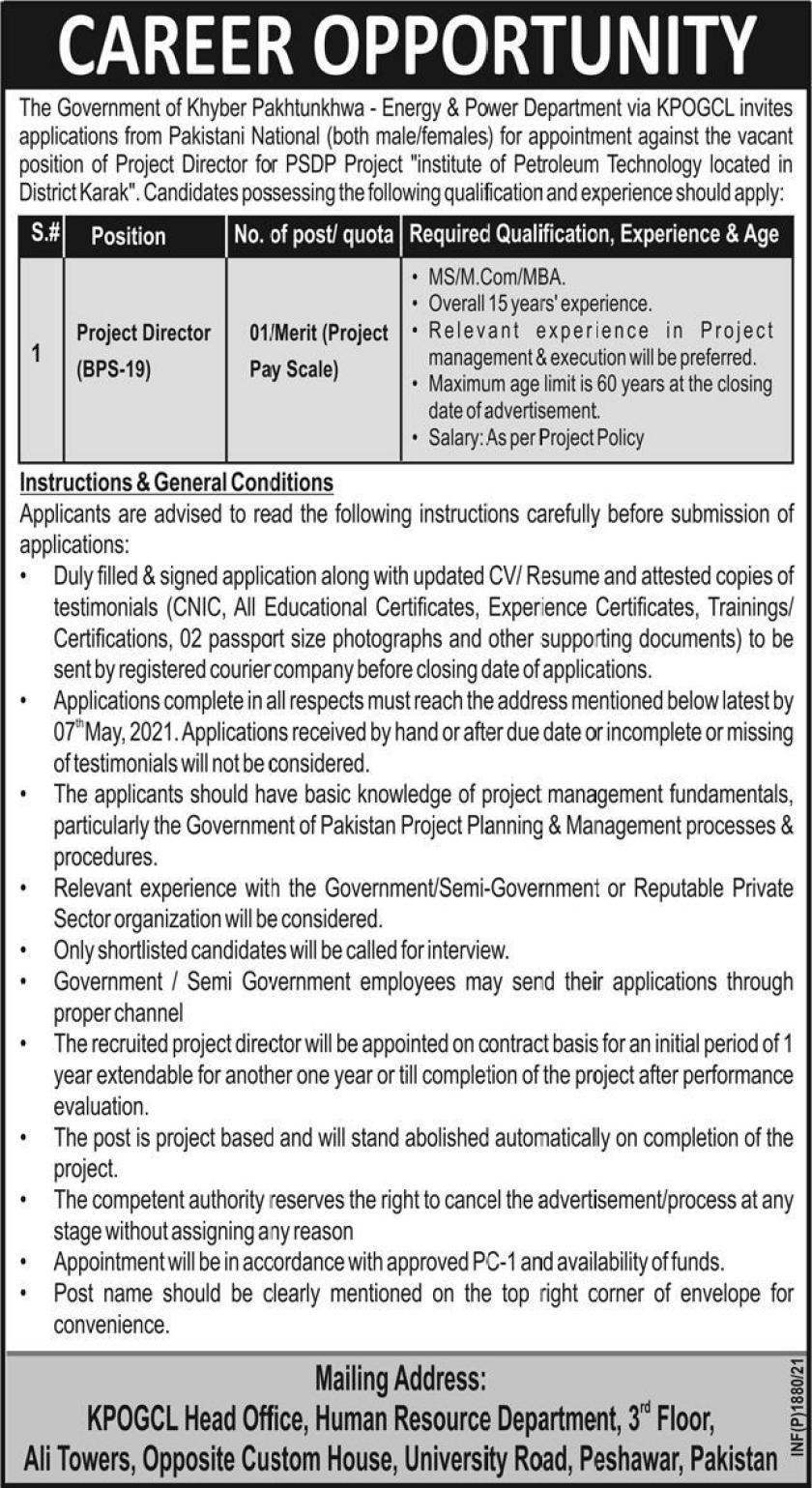 Khyber Pakhtunkhwa Oil & Gas Company Limited KPOGCL Jobs 2021