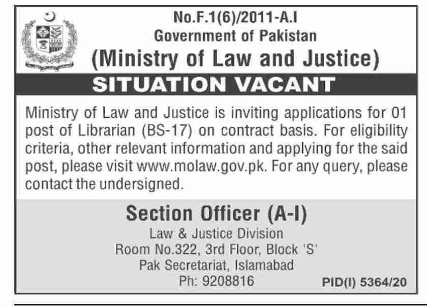 Ministry of Law & Justice Islamabad Pakistan Jobs 2021