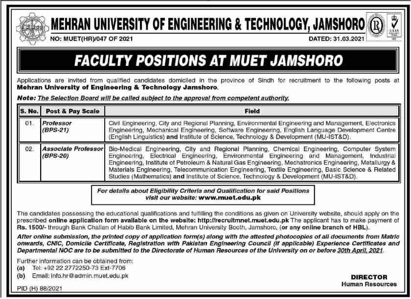Mehran University of Engineering & Technology MUET Jamshoro Jobs 2021