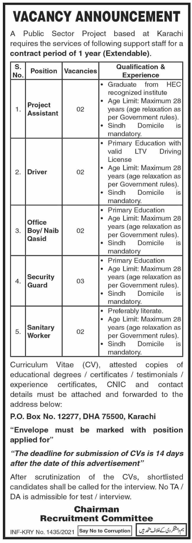 Public Sector Organization PO Box 12277 Karachi Jobs 2021