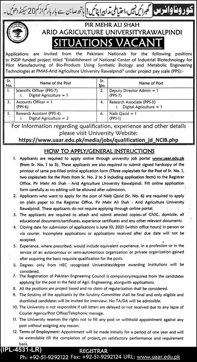 PMAS Arid Agriculture University UAAR Jobs 2021