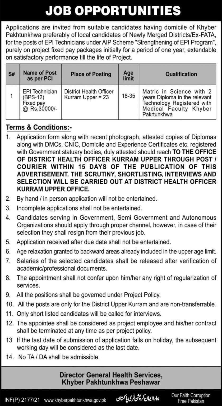 Directorate General Health Services KPK Jobs 2021
