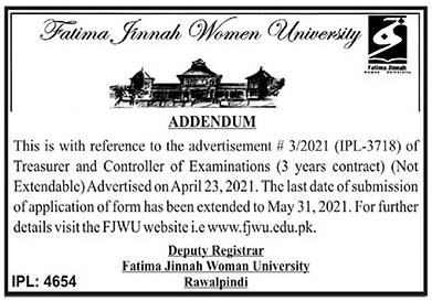 Fatima Jinnah Women University FJWU Jobs 2021