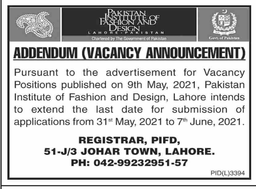 Pakistan Institute of Fashion & Design PIFD Jobs 2021
