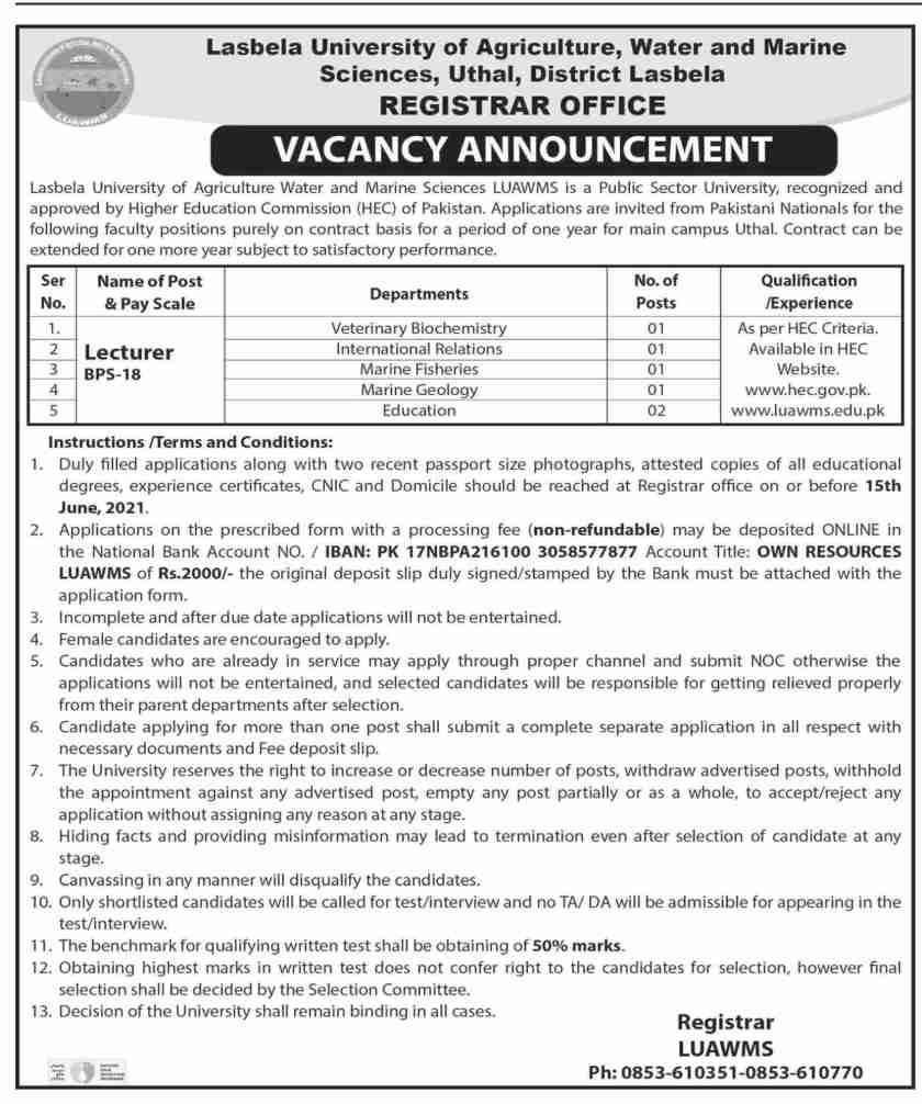 Lasbela University Jobs 2021 for Teaching Faculty Positions