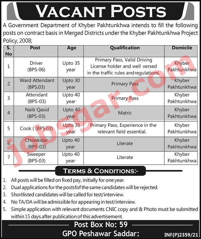 PO Box 59 Peshawar Jobs 2021 Government Organization