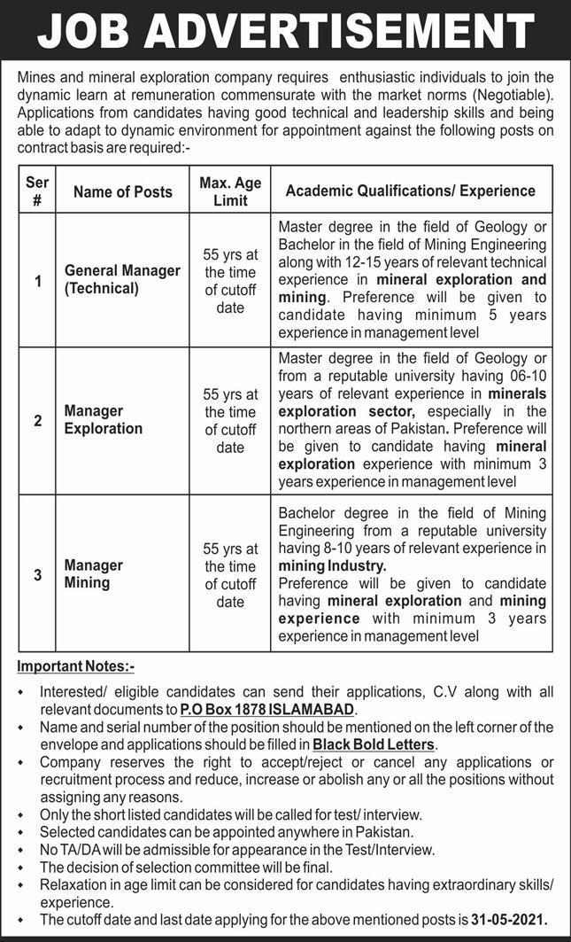 Mines and Mineral Exploration Company PO Box 1878 Islamabad Jobs 2021