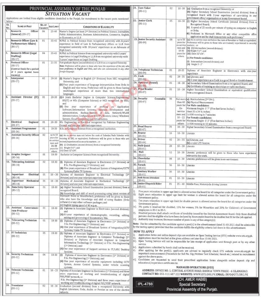 Punjab Assembly Jobs 2021 Latest Advertisement