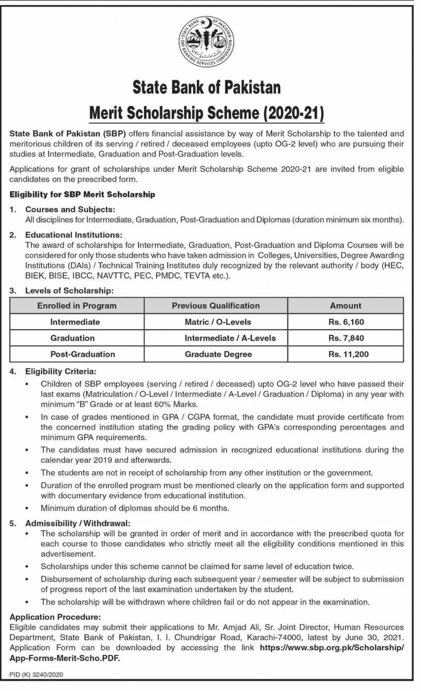 SBP Merit Scholarship Scheme 2020 21 State Bank of Pakistan