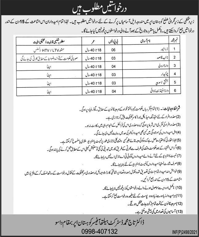 District Health Office DHO Kohistan Upper Dasu Jobs 2021