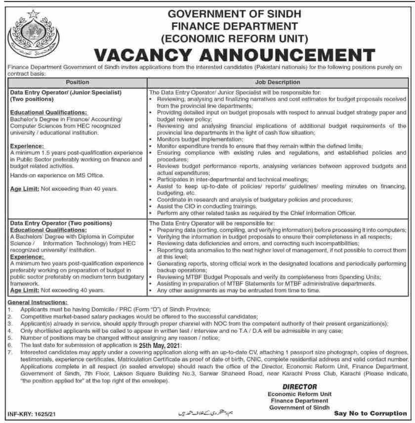 Finance Department Sindh Economic Reform Unit Jobs 2021