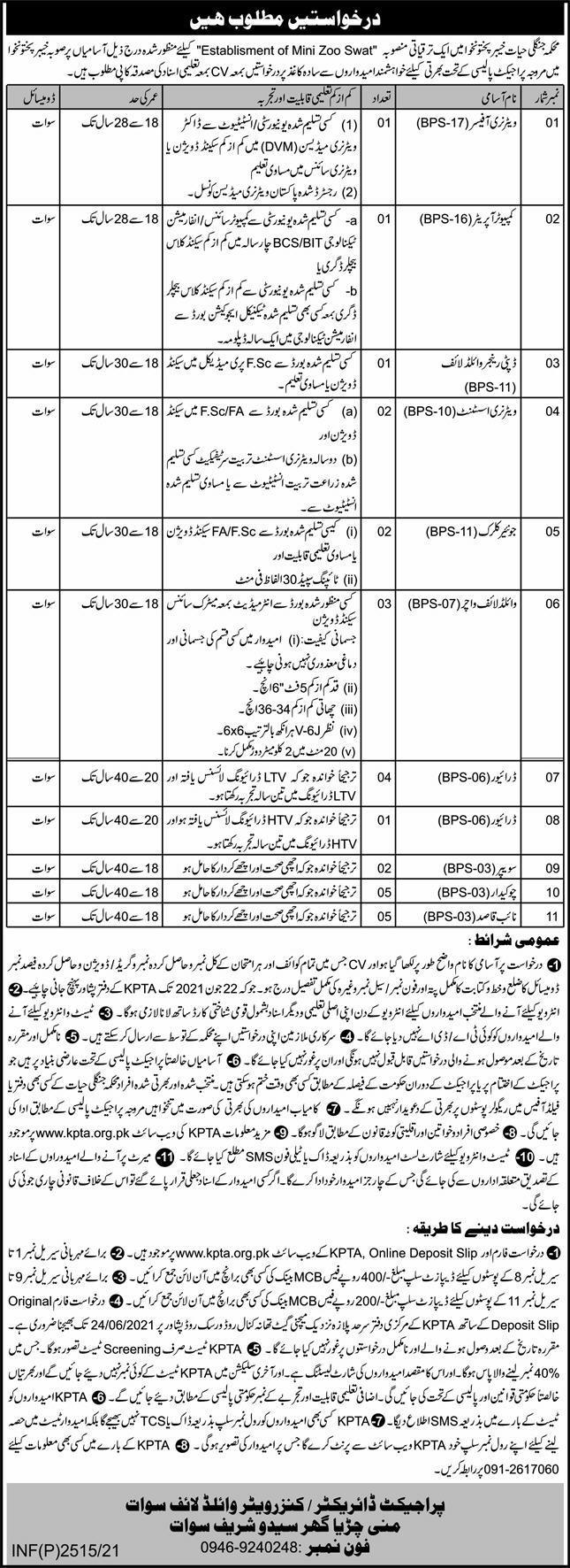 Wildlife Department KPK Jobs 2021 in Peshawar