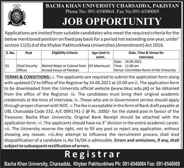 Bacha Khan University Charsadda BKUC Jobs 2021