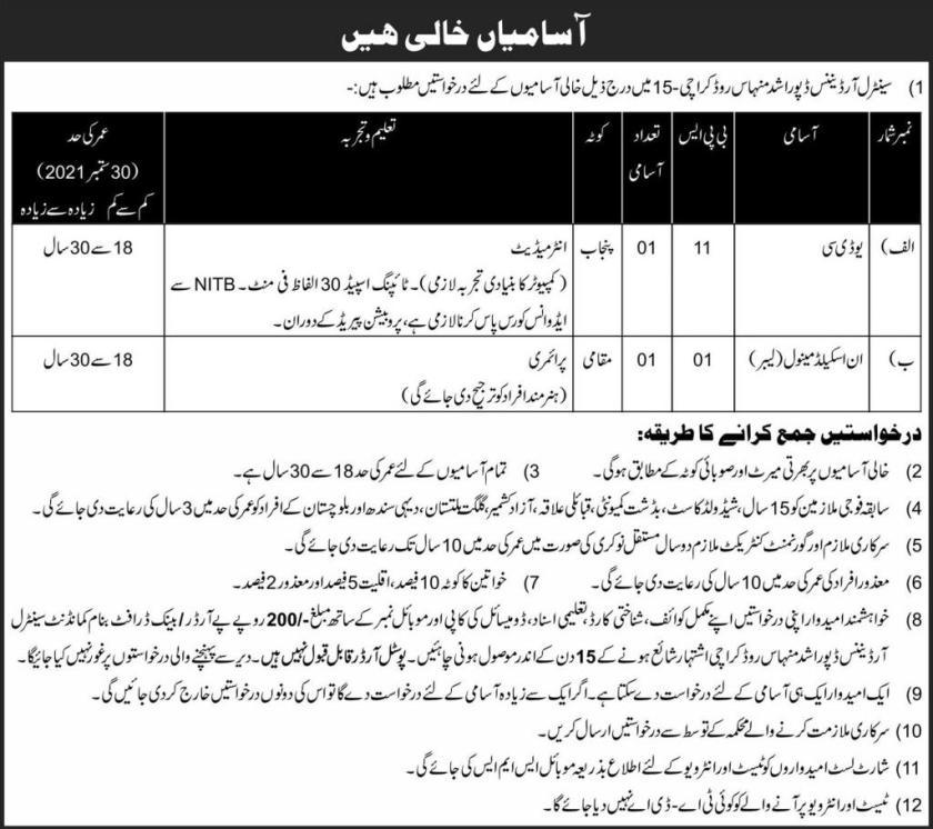 Central Ordnance Depot COD Karachi Jobs 2021