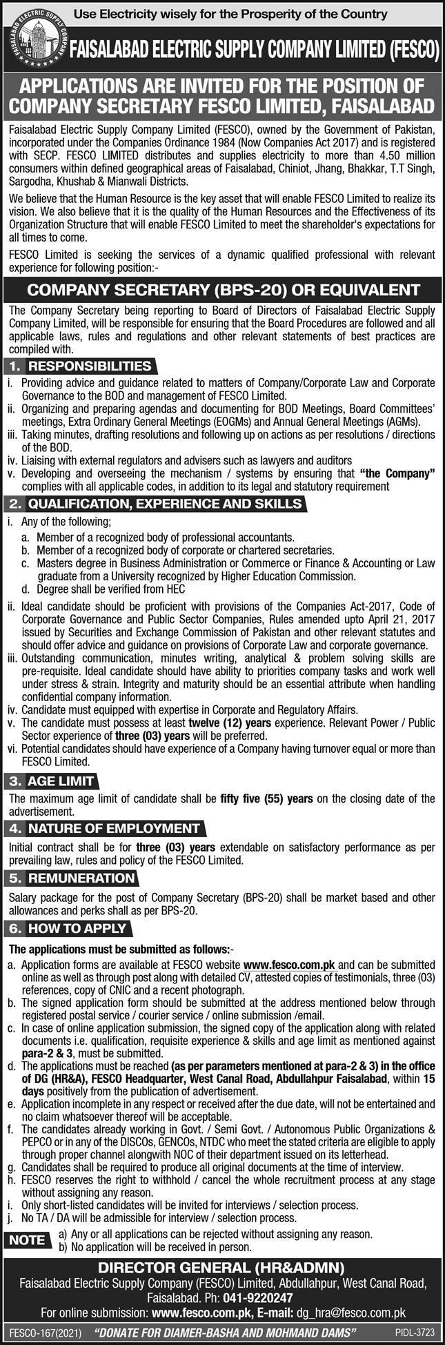 Faisalabad Electric Supply Company FESCO Jobs 2021