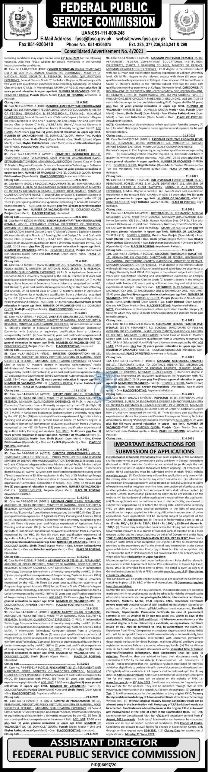 FPSC Jobs June 2021