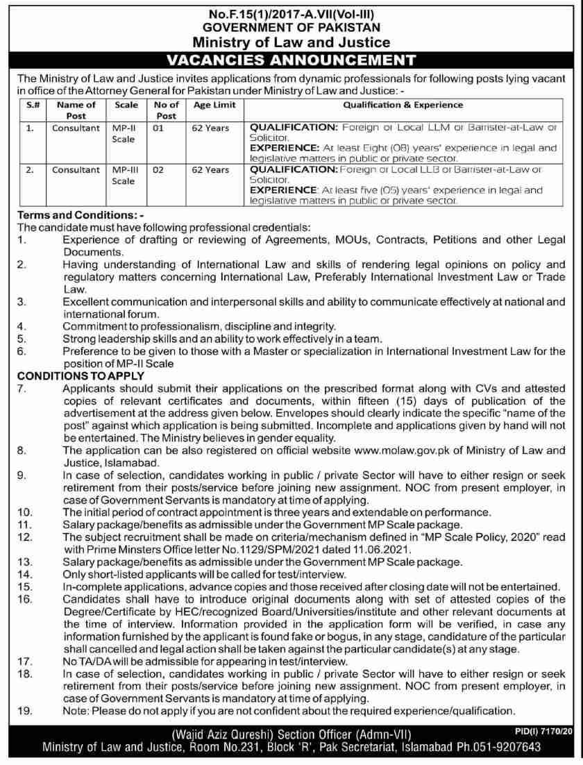 Ministry of Law & Justice Islamabad MOLAW Jobs 2021