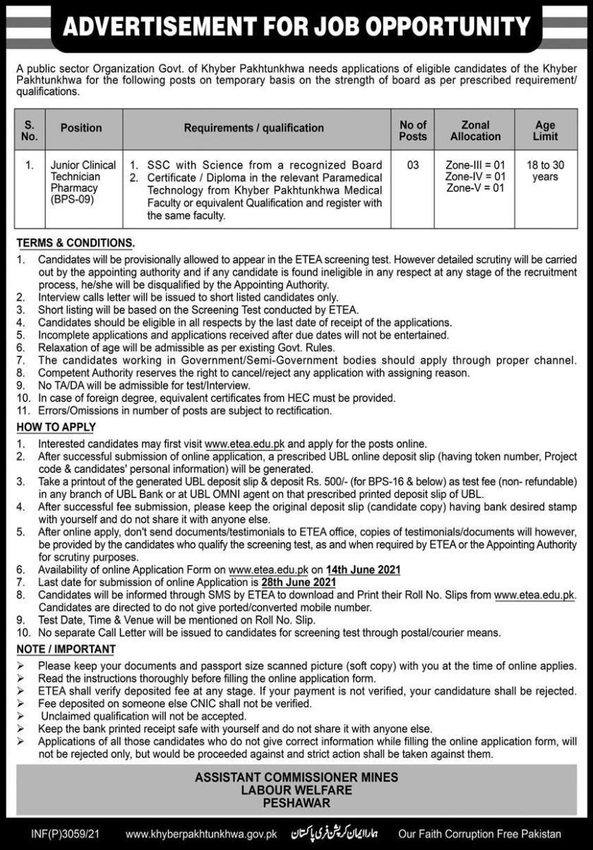 Mines Labour Welfare Peshawar KPK Jobs 2021