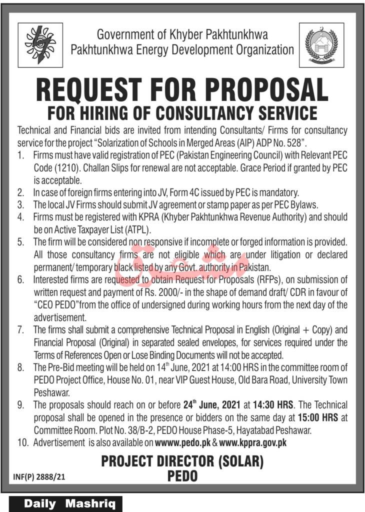 PEDO Jobs 2021 Pakhtunkhwa Energy Development Organization
