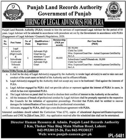 Punjab Land Records Authority Lahore