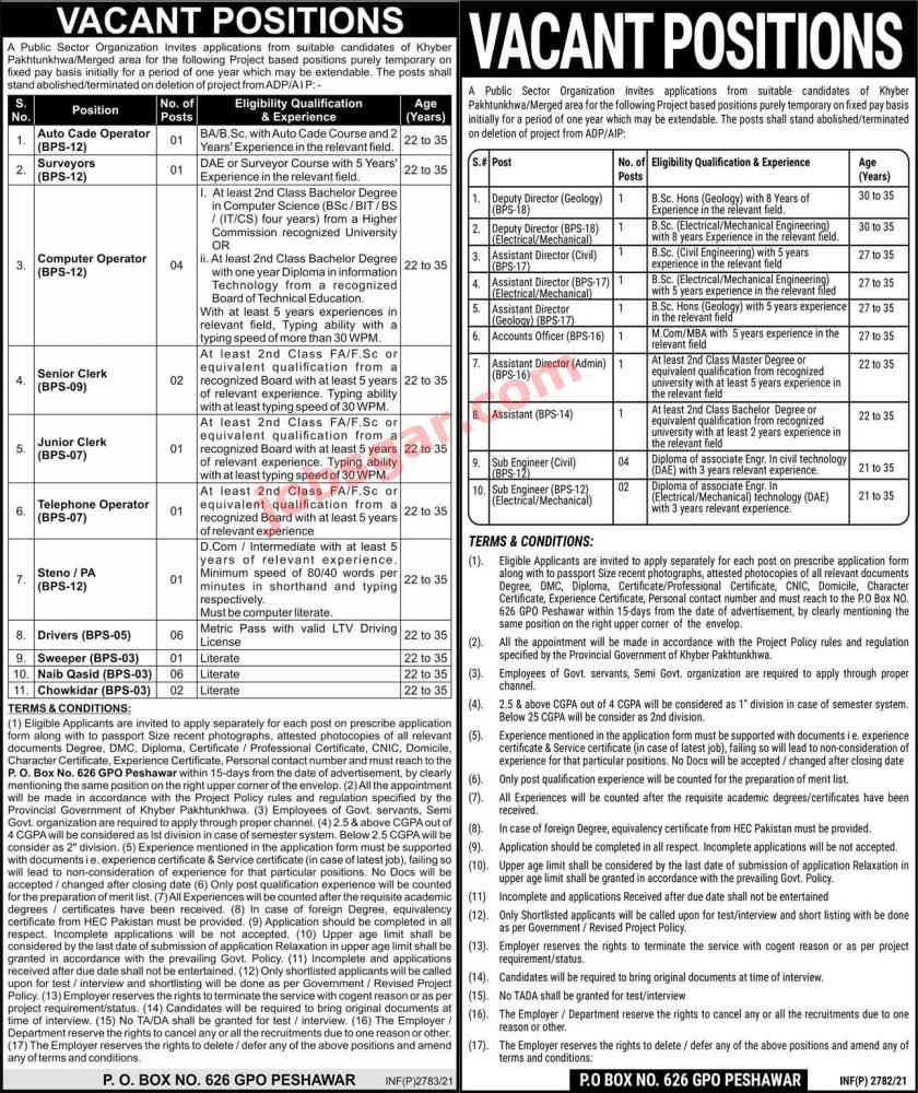 Public Sector Organization PO Box 626 Peshawar Jobs 2021