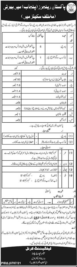 Pakistan Rangers Jobs 2021 Pak Rangers across Pakistan