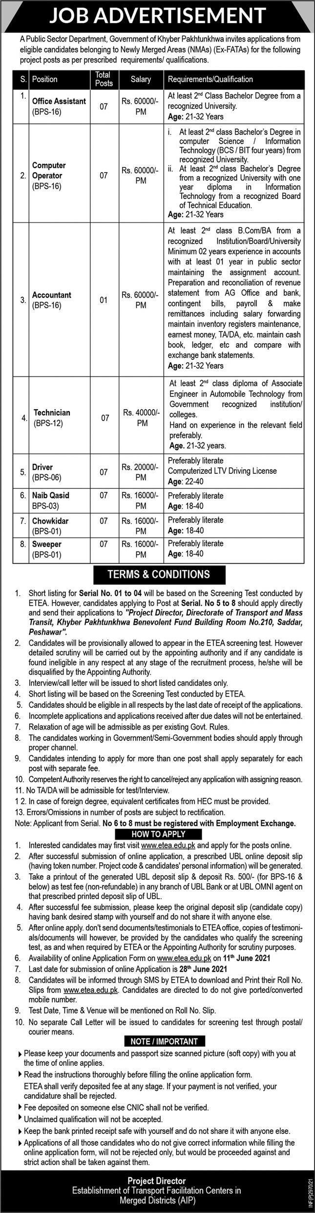 Transport & Mass Transit KPK Jobs 2021 in Peshawar