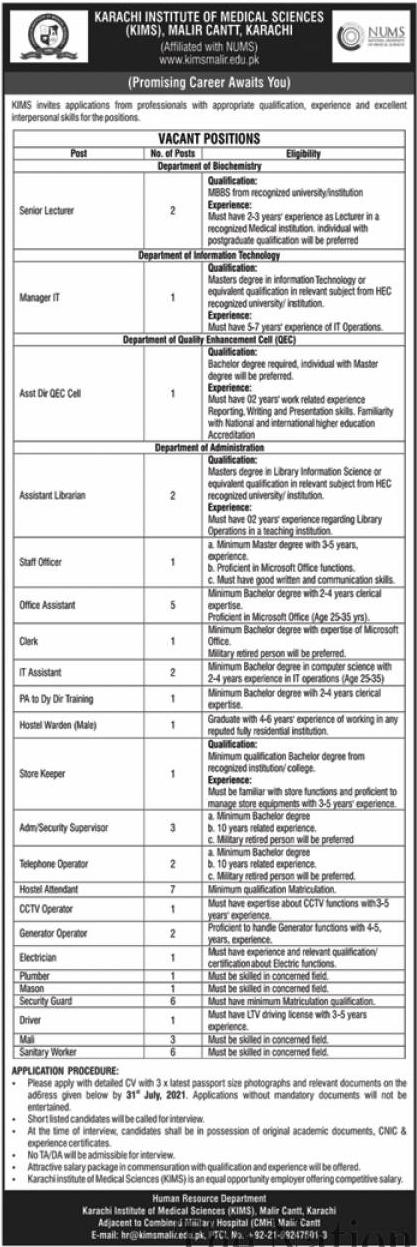 Karachi Institute of Medical Sciences KIMS Jobs 2021