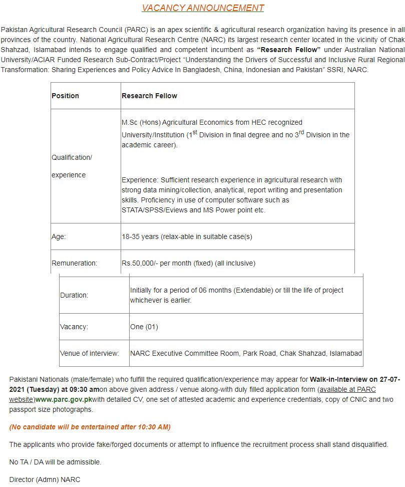 Pakistan Agricultural Research Council PARC Jobs 2021