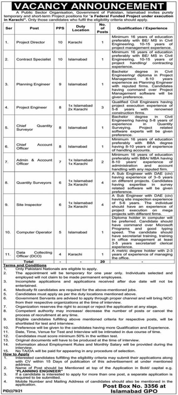 Government Sector Organization PO Box 3356 Islamabad Jobs 2021