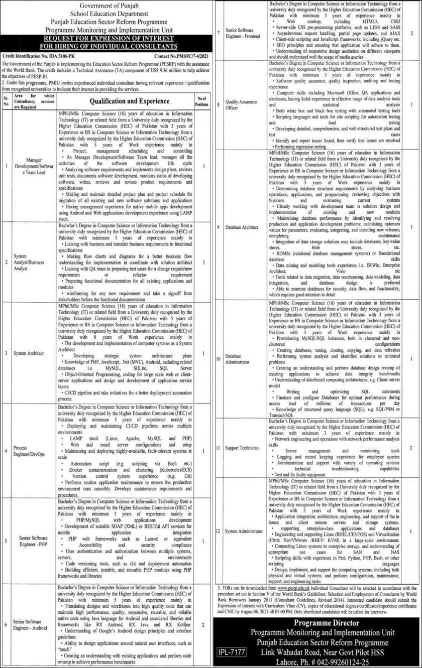 School Education Department Punjab SED Punjab Jobs 2021