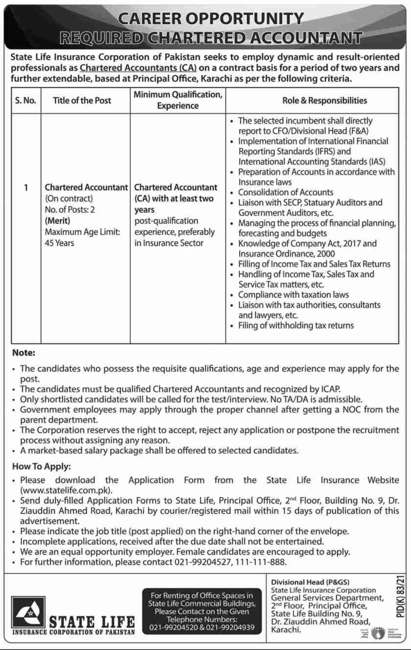 State Life Insurance Corporation of Pakistan Jobs 2021