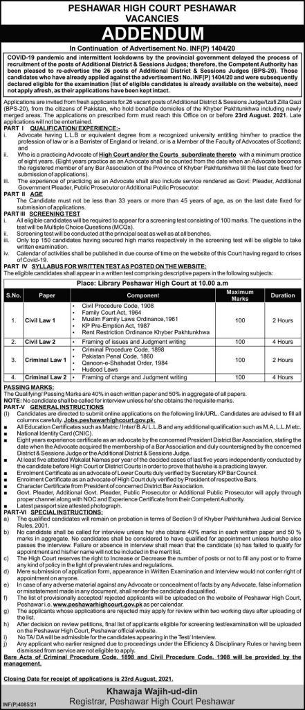 Peshawar High court Jobs 2021 in Pakistan