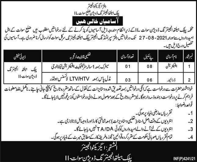 Public Health Engineering Department Khyber Pakhtunkhwa Jobs 2021