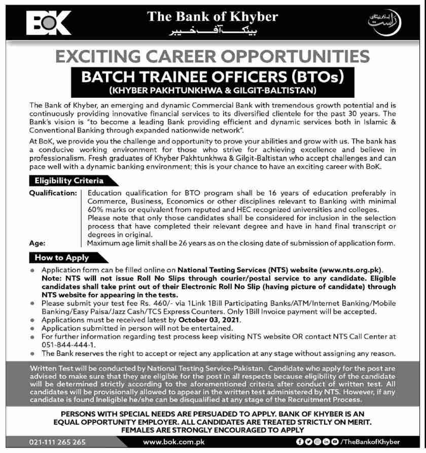 The Bank of Khyber Pakistan BOK Jobs 2021