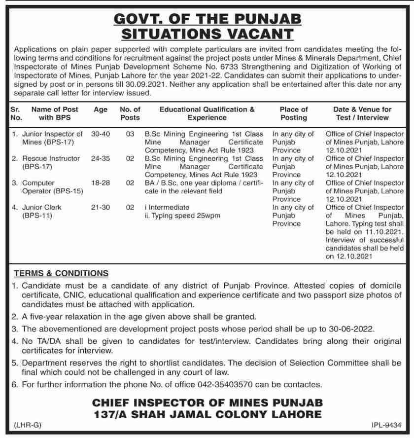 Punjab Government Jobs 2021 in Pakistan