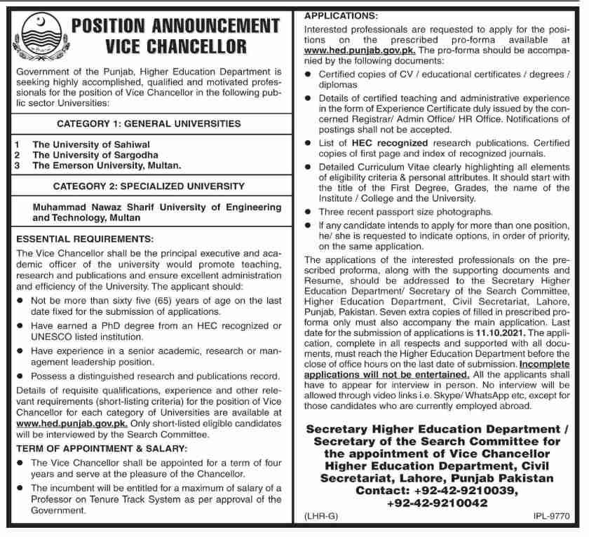 University of Sahiwal Jobs 2021 in Punjab