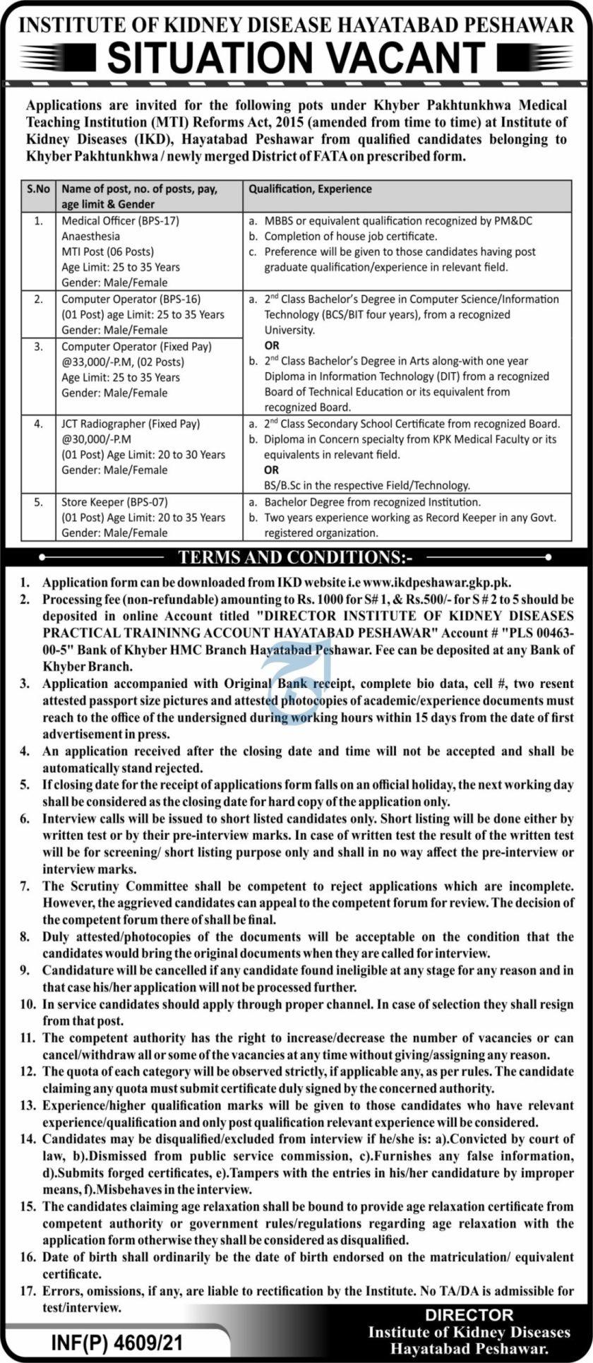 Institute of Kidney Diseases Peshawar IKD Jobs 2021