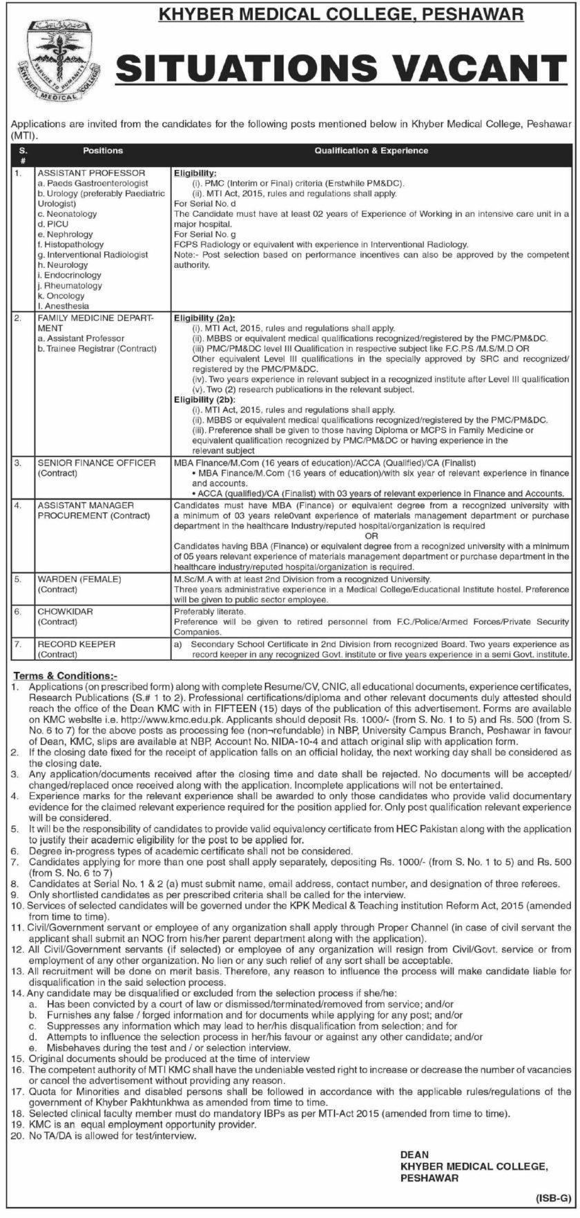 Khyber Medical College KMC Jobs 2021 in Peshawar