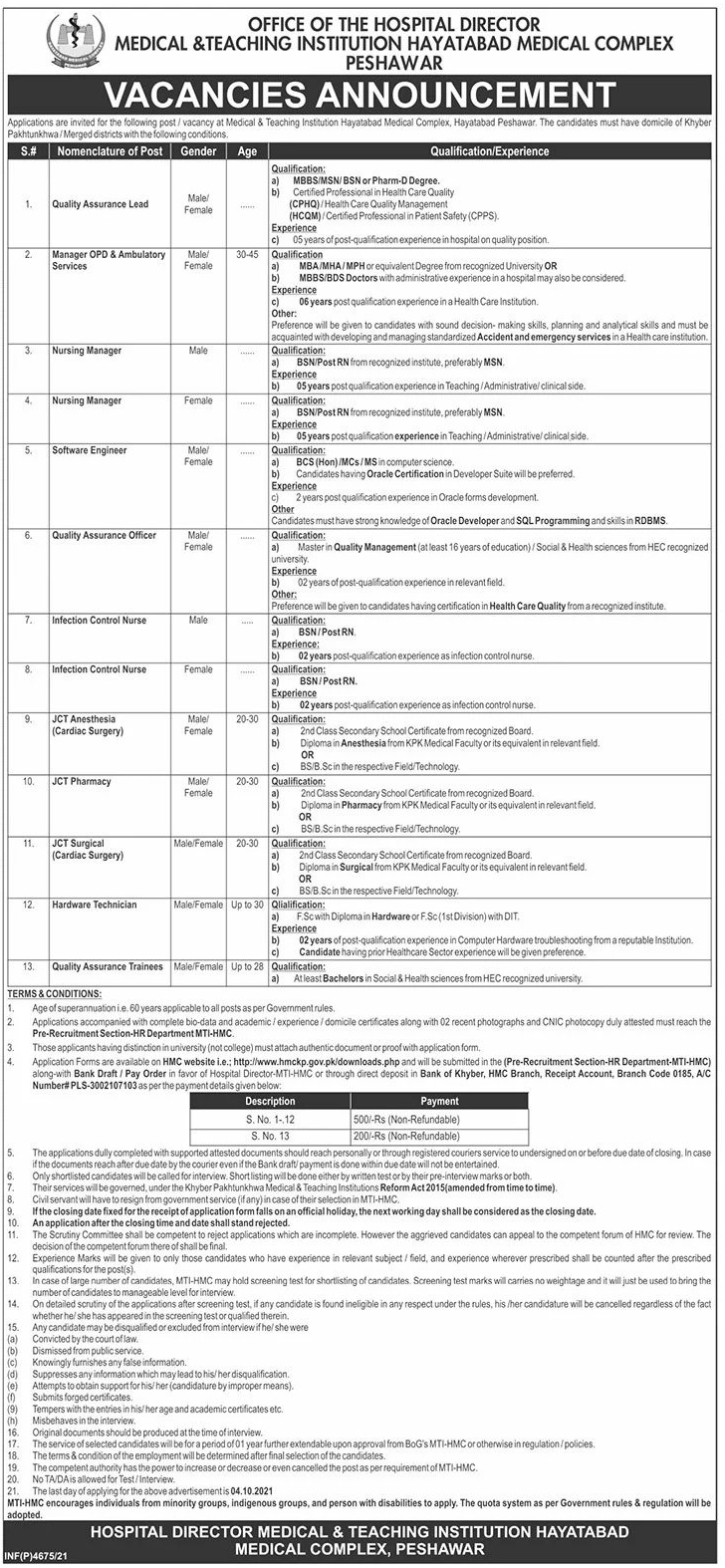 Hayatabad Medical Complex Peshawar MTI HMC Jobs 2021